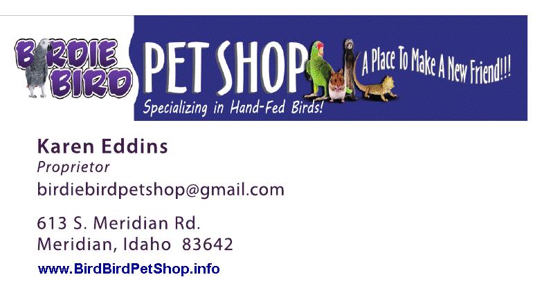 BirdieBirdPetShop.Blogspot.com  , 613 S. Meridian Ave , Meridian, Idaho, 83642, US